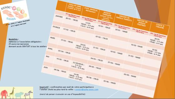 Planning des activités et ateliers du premier semestre 2018 organisés par l'association SASHA